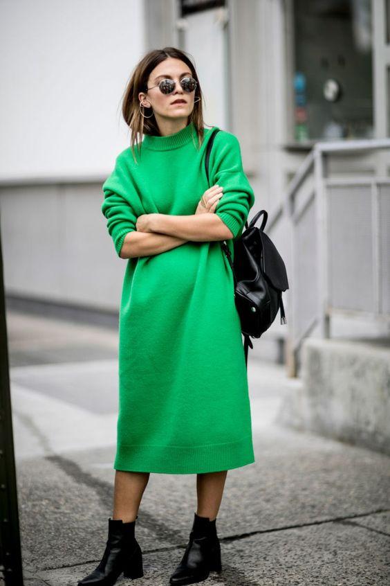 sweater dress grass green