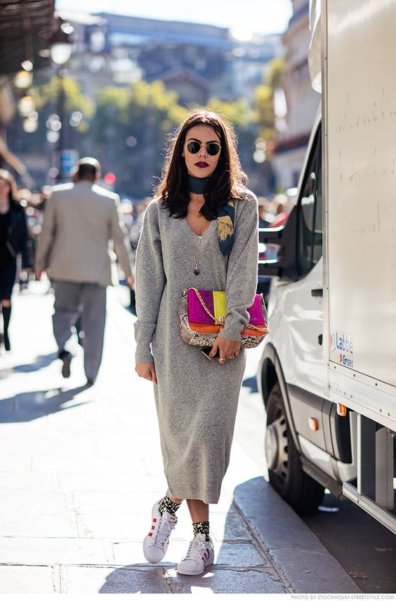 sweater dress colorful details