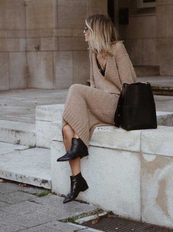 sweater dress camel black