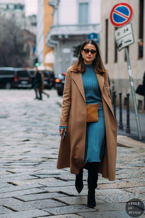 sweater dress blue camel
