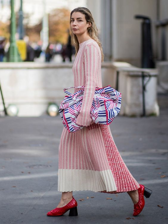 sweater dress pink and red