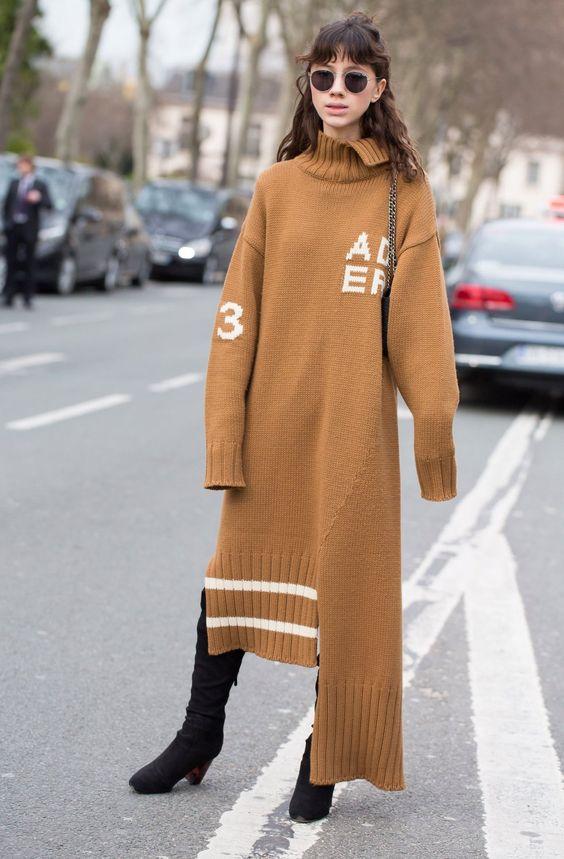sweater dress asymmetrical
