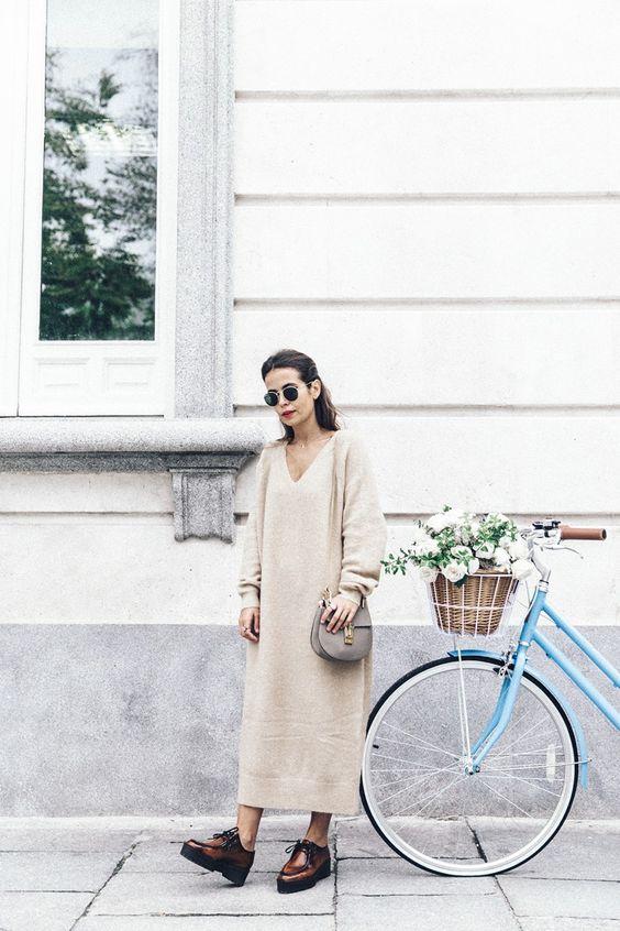 sweater dress camel maxi