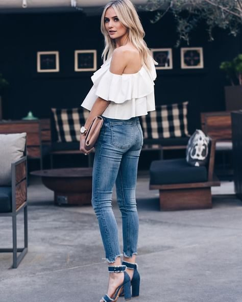 white from the shoulders ruffle top navy open toe heels