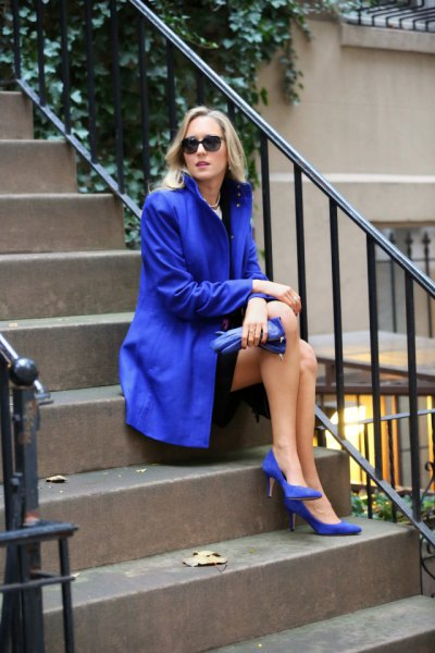 royal blue long trench heels with exactly the same color
