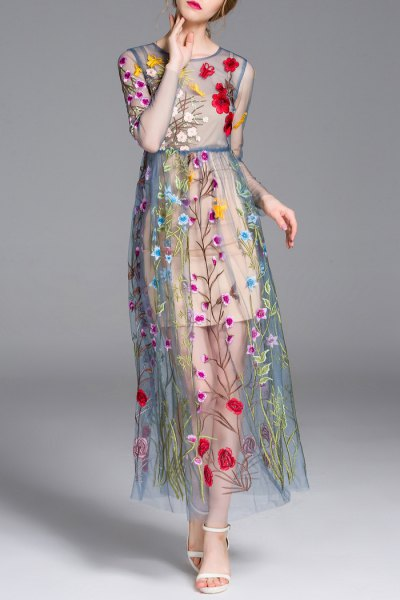 teal half pure floral embroidered maxi dress