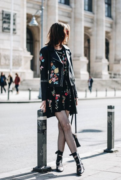 black embroidered mini shift dress clothing jacket