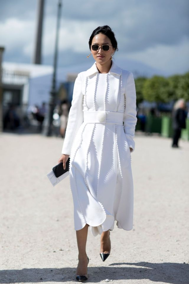 white peeled dress street style