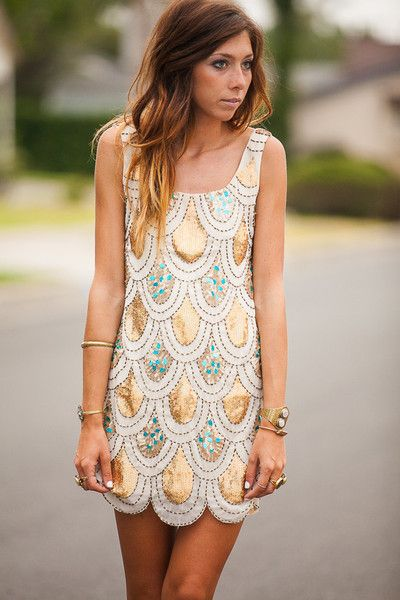 white scalloped dress sparkling