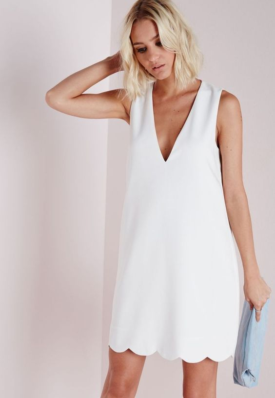 white peeled dress v-neck