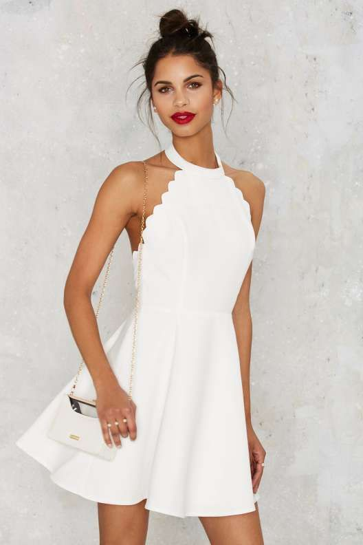 white scalloped dress halter neckline