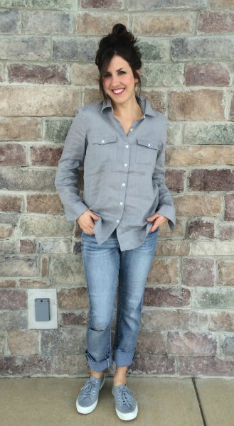 gray button up shirt cuffed boyfriend jeans