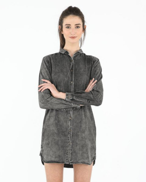 gray denim shirt dress
