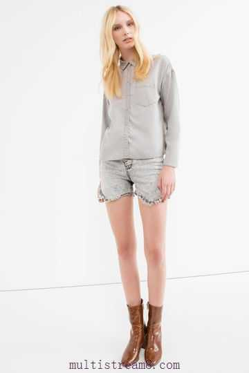 light gray denim shirt mini-shorts