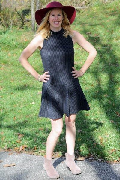 dark gray ribbed sleeveless drop waist dress