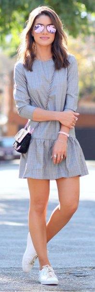 gray plaid drop waist mini dress
