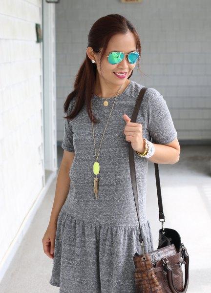 light gray dress boho style long necklace