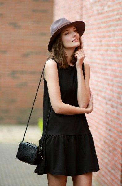 black tank drop waist mini skater dress blanket hat