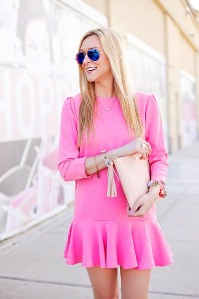 pink long sleeve mini drop at the waist