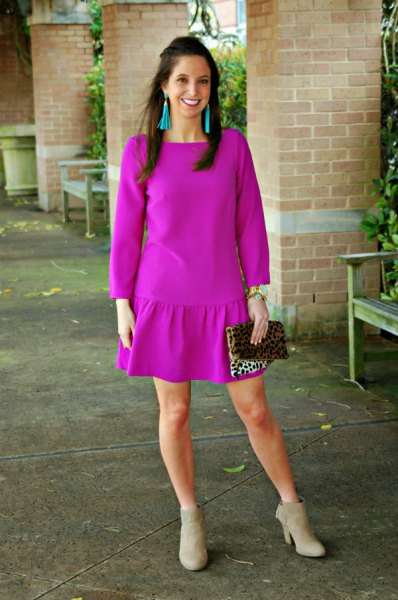 neon pink long sleeve mini dress gray boots