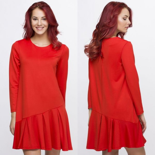 red asymmetrical waist dress with long sleeves