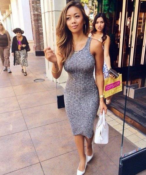 gray form fitting midi tank ribbed dress