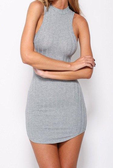 gray halter neck skinny fit mini ribbed dress