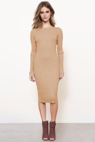 pink midi shape matching long sleeve sweater dress