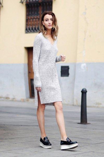 gray v-neck long-sleeved mini sweater dress with slit