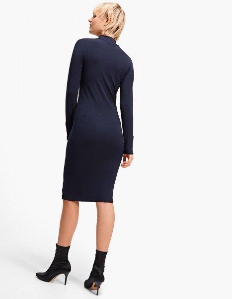 black mock neck midi dress crew socks heels