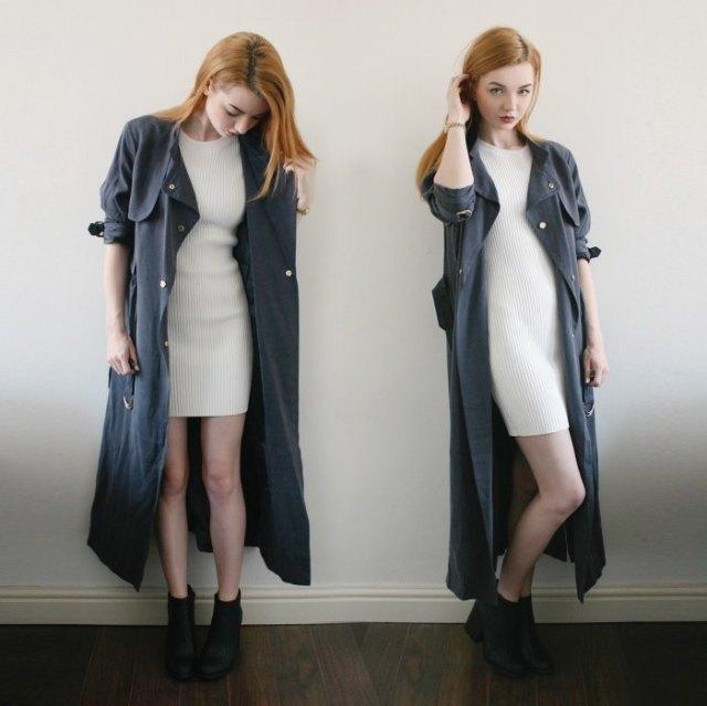 gray maxi trenchcoat white ribbed mini sweater dress