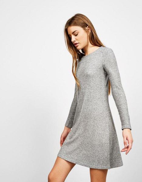 Heather gray mini-projecting ribbed dress