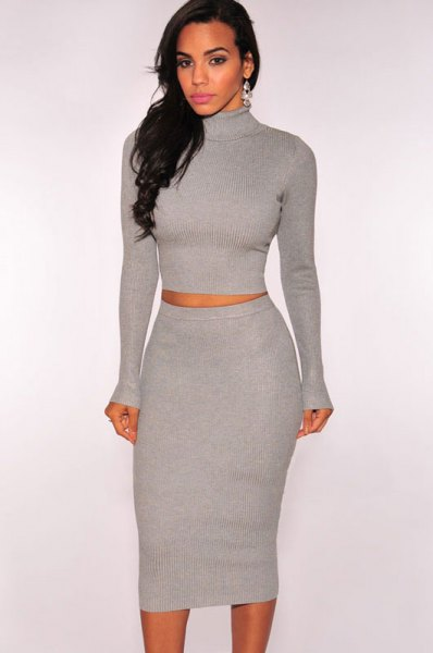 gray turtleneck two midi sweater dress