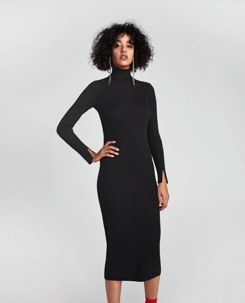 black turtleneck midi-ribbed dress