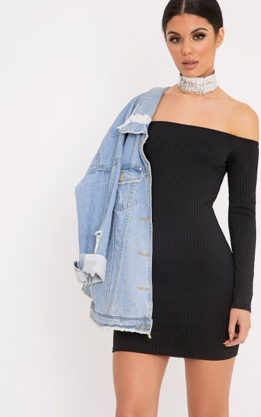 black off shoulder bodycon mini-ribbed dress