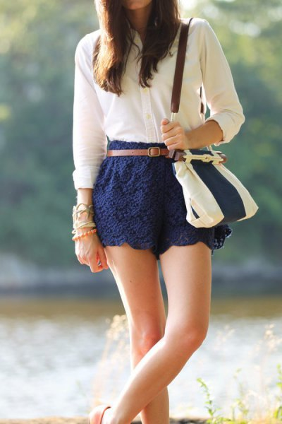 navy lace cute shorts white button up shirt