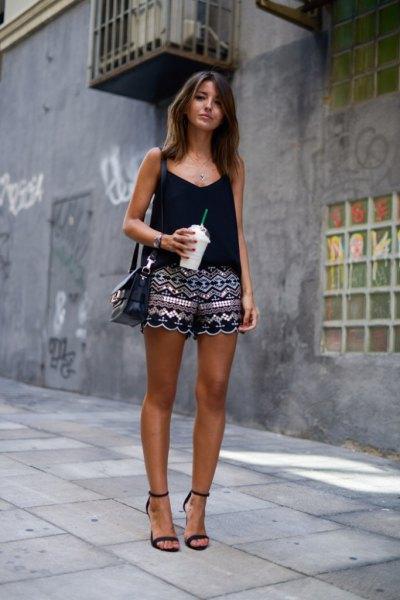 Black west top tribal printed cute mini shorts