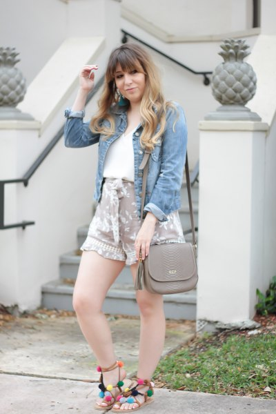 chambray shirt pink printed liquid cute shorts
