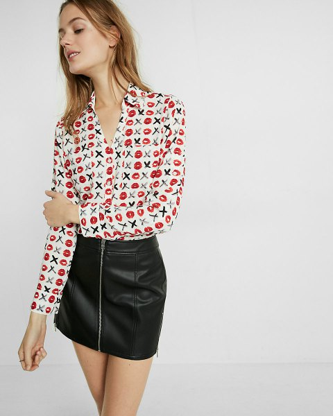 white printed button up slim fit shirt mini leather skirt