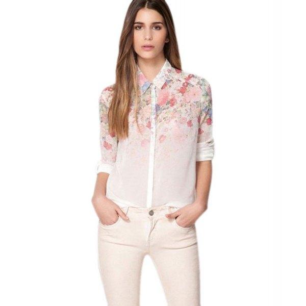 white floral chiffon shirt slim jeans