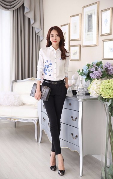 white flowers embroidered slim fit shirt skinny chinos