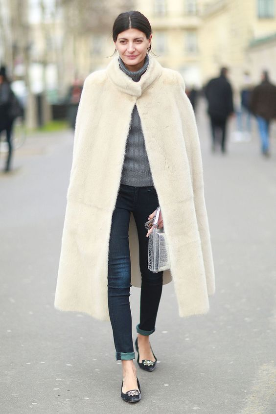 Faux fur coat long beige