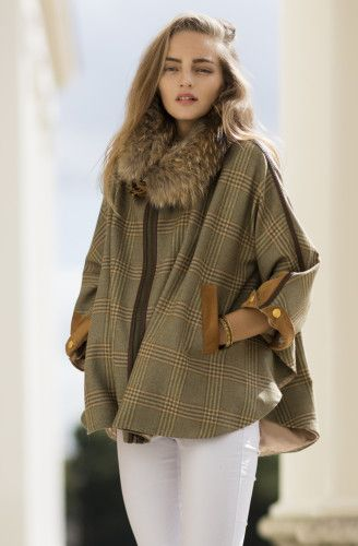coat fur coat plaid brown