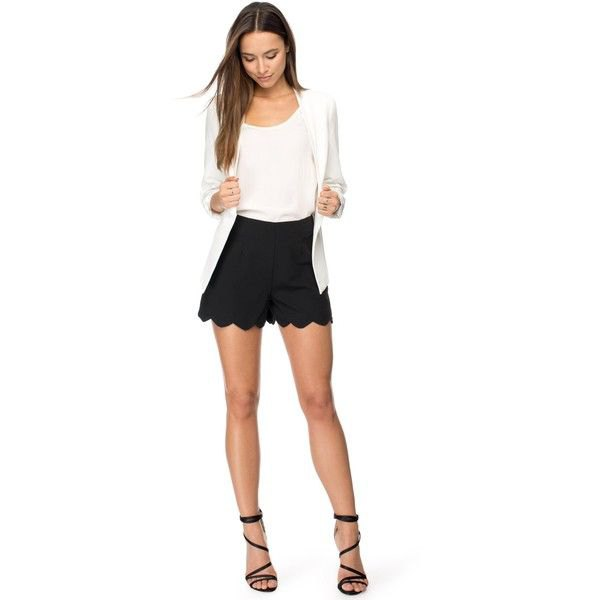 black peeled bottom liquid shorts white blazer