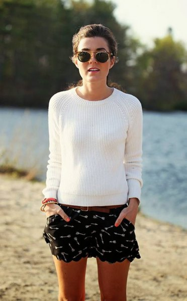 black printed floating shorts white ribbed sweater