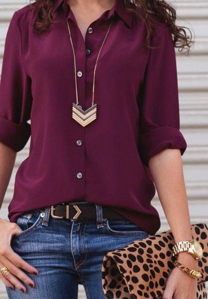 burgundy chiffon button up shirt blue jeans