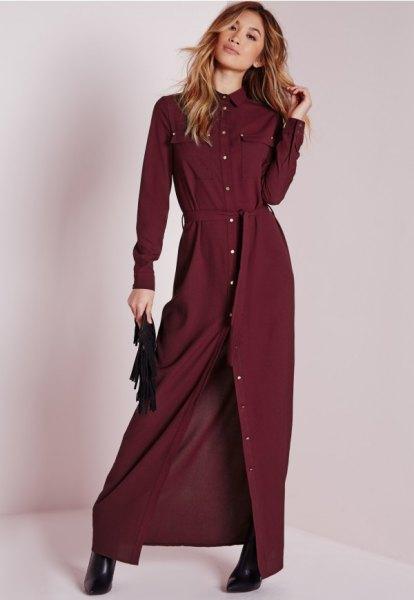 maxi burgundy belt shirt dress