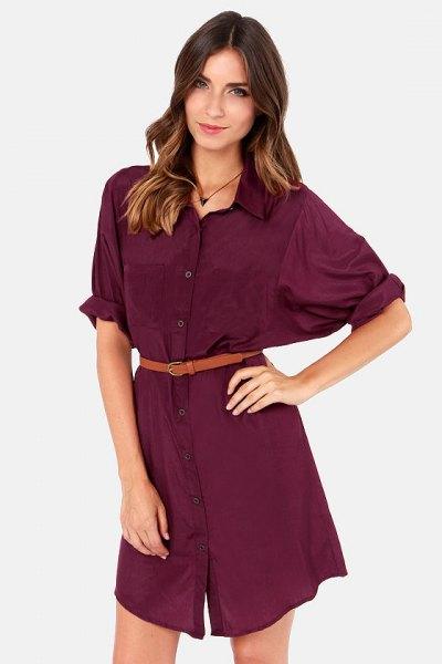 burgundy belt shirt dress