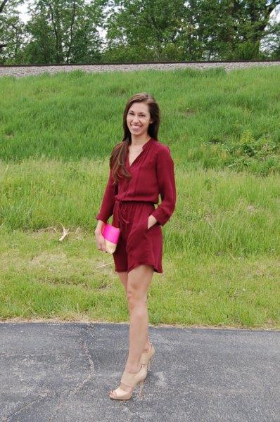 burgundy shirt silk pants exactly the same color