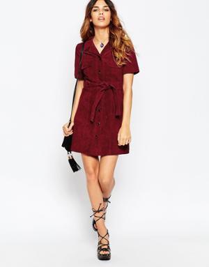 belt burgundy shirt dress black striped heels